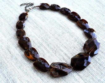 CLEARANCE Boho Large Brown Beaded Chunky Statement Necklace