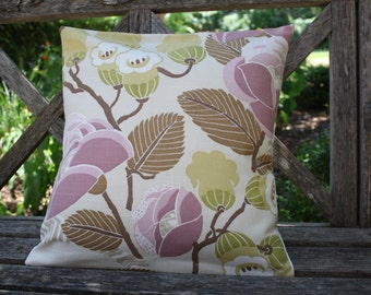 Handmade pillow cover, 16x16, off white, mauve, muted browns and greens