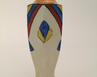 Small Art Deco Hand Painted Luster Ware Vase Occupied Japan Mark/Vintage Luster Ware/ Occupied Japan/ Primary Colors//Vintage Art Deco