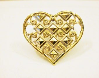 Vermeil,18k gold over 925 sterling silver heart charm or Connector, large heart pendant, vermeil heart pendant