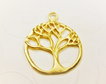 Vermeil,18k gold over 925 sterling silver  tree of life charm, pendant, tree of life,tree, matte vermeil tree of life,life tree