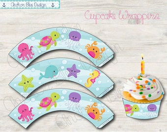 INSTANT DOWNLOAD: Under The Sea Cupcake Wrappers
