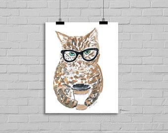 Coffee Cat Watercolor Painting Art Print Cat llustration Drawing Wall Art