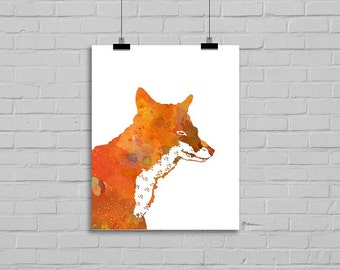 Mr. Fox Watercolor Painting Art Print Fox Art Print Archival Art Print Watercolour Fox Wall Art Watercolor
