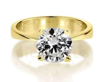 Solitaire Diamond Engagement Ring 18 Karat Yellow Gold D VS2 Round Cut 1.15 Carat Women Diamond Ring