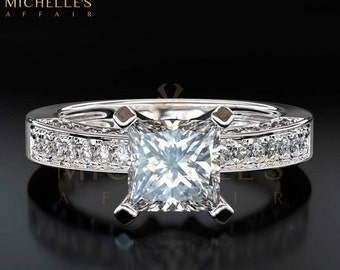 Engagement Ring With Accents 2.2 ct Princess Cut Diamond Certified G VS1 Ladies White Gold Ring 18K Setting