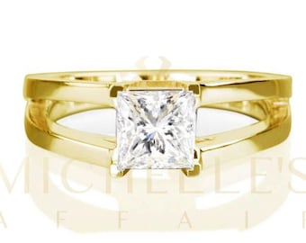 Princess Cut F SI2 1.65 ct Diamond Solitaire Ring Ladies 14 Karat Yellow Gold Engagement Ring For Women