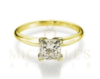 0.65 ct Bridal Diamond Ring For Women Princess Cut Solitaire H VVS2 Yellow 18K Gold Setting For Ladies