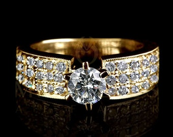 2.35 Carat D SI1 Diamond Engagement Ring Round Cut Wedding Ring In 18K Yellow Gold Women Jewelry Size 4 5 6 7 8