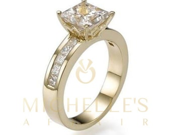 Diamond Ring 1.50 ct Women Solitaire Engagement Ring With Side Accents D VVS2 Princess Cut In 18K Yellow Gold Setting