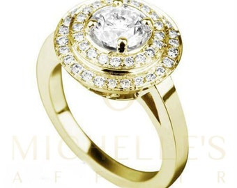 Engagement Ring Solitaire Diamond With Accents 2.25 Carat D VS2 Round Cut 14 Karat Yellow Gold Setting For Women