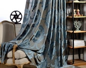 "2 x Custom Made French Country Victorian Damask Floral Blue Cut Velvet Window Curtain Panel  59""wide x 84""drop"