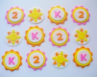 SUNSHINE Pink Yellow Orange Personalized Fondant Cupcake Toppers