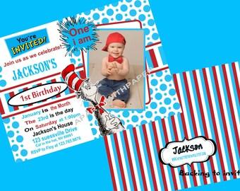 Dr. Seuss Birthday Invitation FREE Thank You Cards
