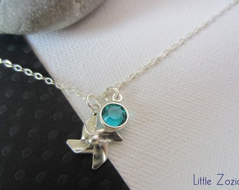Necklace Pinwheel and Birthstone,Windmill,Necklace windmill,Origami necklace,Pinwheel necklace,Necklace every day - Sterling Silver Chain