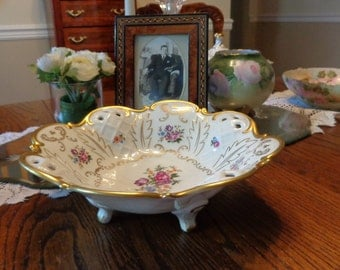 German Footed Bowl Fine China /  Fruit Bowl With  Gold Gild And Flower Design