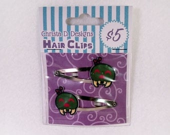 Metroid Inspired Hair Clips