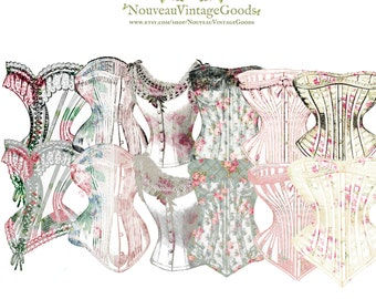 Vintage Digital Corsets - Instant Download, Floral Corsets, Digital Appliques/Clipart, JPEG & PNG, Scrapbook Supply