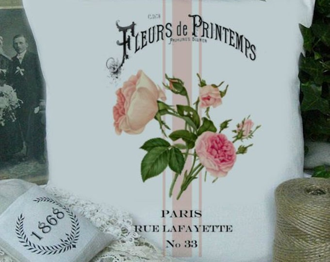 French Digital Roses Pillow Image, Roses for Fabric Transfer, Fabric Iron-On Download, French Pillow Graphic