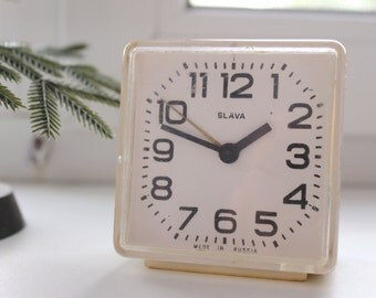SLAVA - Shabby chic Vintage Rare Alarm Clock - Soviet Mechanical Alarm Clock - Home Decor - Vintage Decor