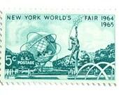 10 Unused 1964 New York World's Fair Vintage 5 Cent Postage Stamps