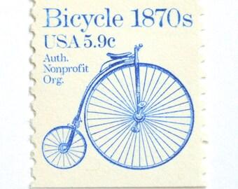5 Unused Vintage Bicycle Postage Stamps // Blue 1870s Blue Bicycle Stamps