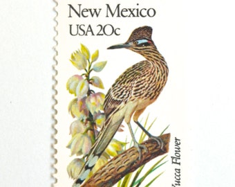 10 Unused New Mexico Vintage Postage Stamps // Roadrunner & Yucca // New Mexico State Bird and State Flower