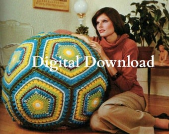 Granny Square Pentagon Giant Floor Pillow Pattern, Crochet Pattern, Pouf Ball Cushion, Vintage 1979 Hippie, Digital Download, PDF Instant