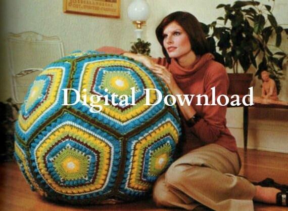 Vintage Hippie Granny Square Giant Floor Pillow Pouf Ball Cushion Crochet Pattern Digital Download PDF