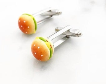 Hamburger Unisex Cufflinks cuff links - food jewelry - Junk food - cheeseburger cufflinks- food jewellery - Menswear - Wedding - grooms wear