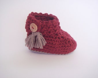 Baby booties, baby crochet booties, baby crib booties, Cotton baby booties, cotton and merino baby booties - Choose your favorite colors!