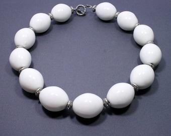 Jumbo White Beaded Necklace - Huge White Statement Necklace - White Ceramic Bead Necklace - Statement Jewellery - Big Skies Jewellery