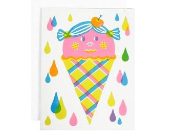 Strawberry icecream cone screenprinted card