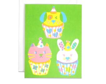 Cupcake party screenprinted card
