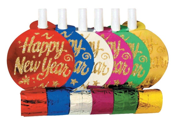 6 Happy New Year's Party Blowouts, New Year Decor Supplies, 2016 New year, Glitter Blowouts, Party Decoration Supplies,New Year Celebration