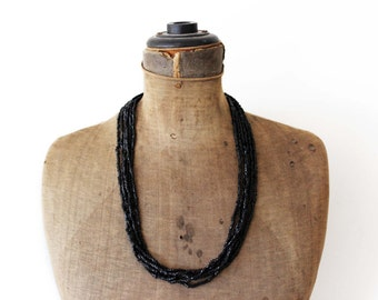 Vintage Black Bead Necklace, Black Seed Bead Necklace,  Black Beaded Multi Strand Necklace, Long Black Necklace