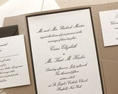 The Conservatory Suite - Pocket Enclosure, Formal Letterpress Wedding Invitation, Script, Classic, Elegant, Traditional, Black, Taupe, White