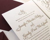 The Cranberry Suite - Classic Letterpress Wedding Invitation Suite Gold with Deep Red Liner, Formal, Simple, Traditional, Monogram, burgundy