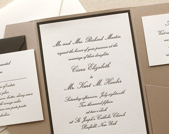 The Conservatory Suite Sample- Pocket Enclosure, Formal Letterpress Wedding Invitation,  Classic, Elegant, Traditional, Black, Taupe, White