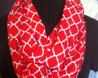Cherry Tomato Red and White Quatrefoil Morrocan Tile Cotton Fabric Infinity Scarf