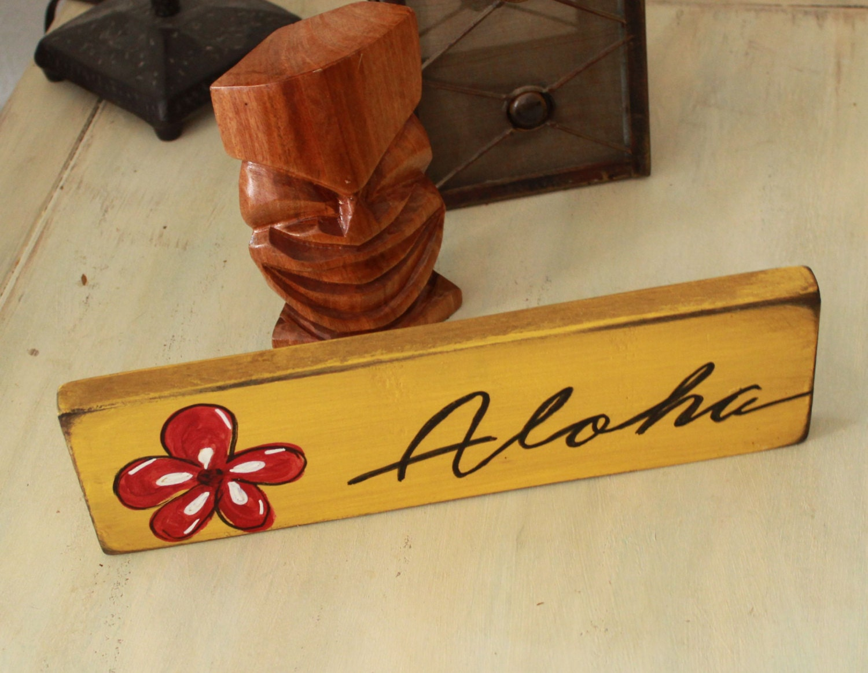 aloha beach wooden sign wall decor hawaii decor hawaii