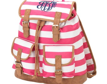 Monogrammed pink stripped backpack, monogrammed campus backpack, Personalized Book Bag
