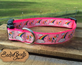 Unicorn dog collar, Rainbow dog collar