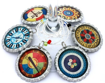 Game party favors vintage game spinners wine charms retro game drink tags.
