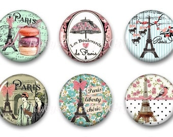 Magnets,  Button Magnets,  Fridge Magnets, Paris Magnets, 1 1/4 inch,  Best friends gift, Hostess Gift, SET OF 6.