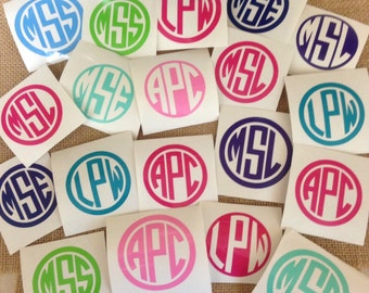 Vinyl Decals Monogrammed Initials for Yeti or Camelbak water bottles DECAL ONLY