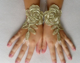 Flower girl  gold  lace gloves wedding bridal gloves french lace for bridesmaid princess wedding gloves lace