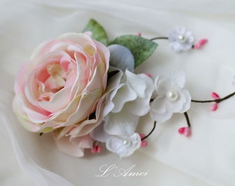 Soft Pink Vintage Rose Flower Bridal Hair Clip Wedding Head Piece Hair Accessory