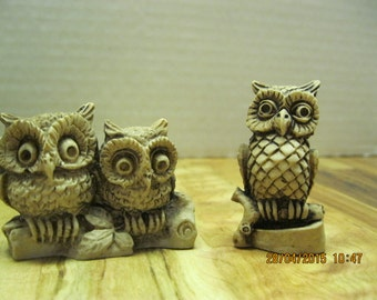 Vintage owl family 2 resin figurines marked Hecho EN