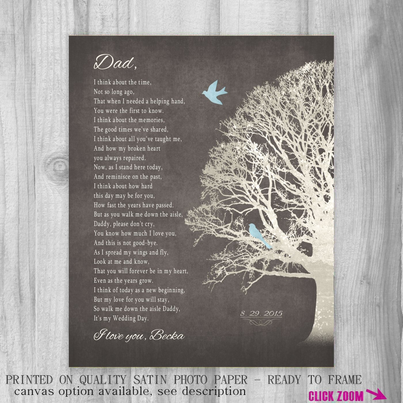 Father Of Bride Gift Father Daughter Gift On Wedding Day